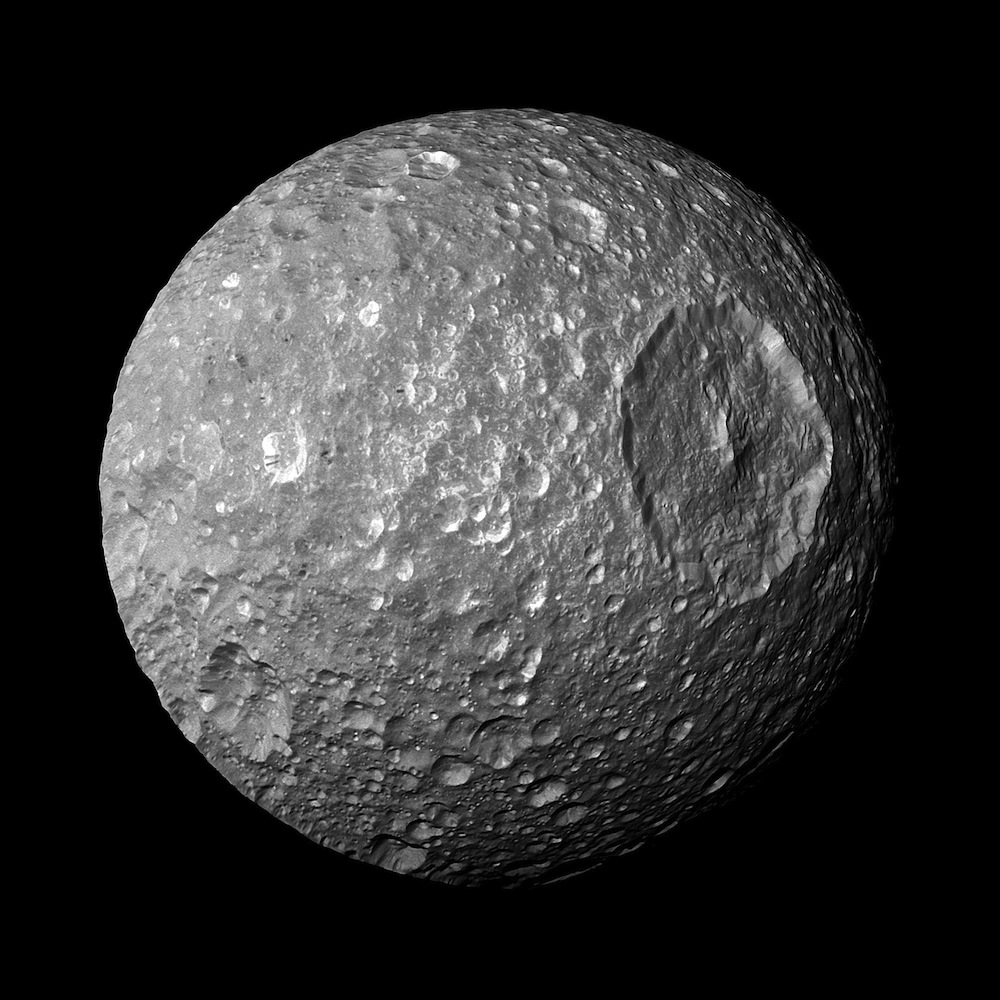NASA's Cassini spacecraft on its closest-ever flyby of Saturn's moon Mimas